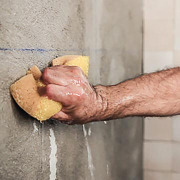 Use adhesive cement for ceramic tiles..